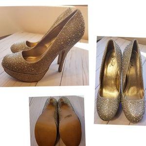 51c33bb580a Qupid 💘 Rhinestone Gold Platform High Heels